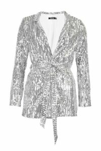 Womens Sequin Tie Belt Blazer - grey - 12, Grey