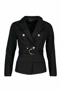 Womens Military Detail Belted Twill Blazer - black - 14, Black