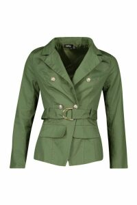 Womens Military Detail Belted Twill Blazer - green - 8, Green