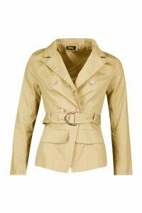 Womens Military Detail Belted Twill Blazer - beige - 14, Beige
