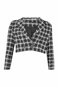 Womens Boucle Checked Double Breasted Cropped Blazer - black - 14, Black