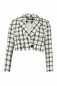 Womens Boucle Checked Double Breasted Cropped Blazer - white - 14, White