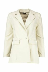 Womens Double Breasted Blazer - cream - 14, Cream