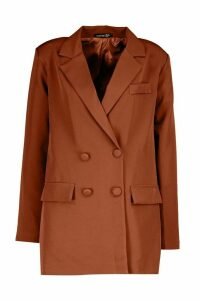 Womens Double Breasted Blazer - brown - 10, Brown
