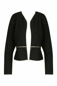 Womens Plus Contrast Piping Zip Detail Cropped Blazer - black - 20, Black