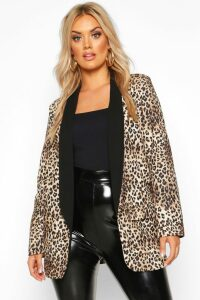 Womens Plus Contrast Lapel Leopard Print Blazer - brown - 20, Brown