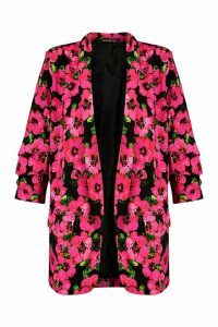 Womens Plus Floral Print Ruched Sleeve Blazer - Pink - 24, Pink