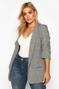 Womens Plus Dogtooth Prince Of Wales Check Blazer - grey - 18, Grey