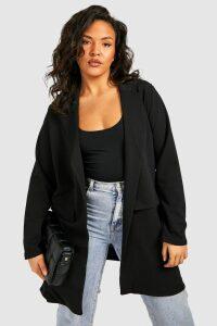 Womens Plus Pocket Detail Boyfriend Blazer - black - 22, Black