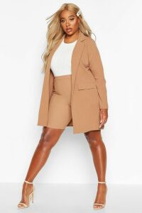 Womens Plus Pocket Detail Boyfriend Blazer - beige - 20, Beige