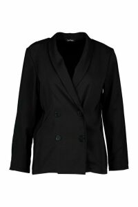 Womens Petite Light Weight Double Breasted Blazer - black - 14, Black