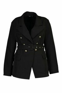 Womens Plus Premium Button Detail Belted Blazer - black - 24, Black
