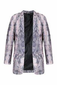 Womens Plus Snake Skin Tailored Blazer - Pink - 18, Pink