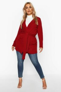 Womens Plus Belted Tie Blazer - red - 20, Red