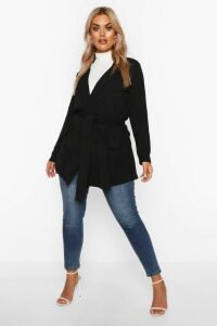 Womens Plus Belted Tie Blazer - black - 20, Black