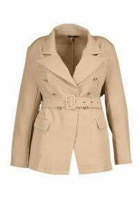 Womens Plus Premium Button Detail Belted Blazer - beige - 16, Beige