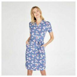 Blue Blossom Print Jersey Shirt Dress