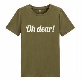 Cotton Slogan Print Crew Neck T-Shirt
