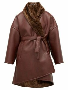 Balenciaga - Oversized Faux Fur And Faux Leather Wrap Coat - Womens - Burgundy