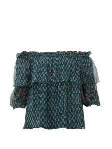 Beulah - Ridhi Off-the-shoulder Floral-print Chiffon Top - Womens - Green Multi
