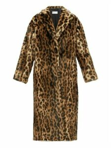 Redvalentino - Ruffled Back Leopard Print Faux Fur Coat - Womens - Brown