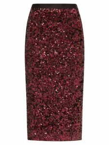 Rebecca Taylor - High Rise Sequinned Pencil Skirt - Womens - Burgundy
