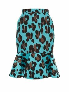 Elzinga - Fishtail Hem Leopard Jacquard Skirt - Womens - Leopard
