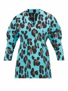 Elzinga - Balloon Sleeve Leopard Jacquard Mini Dress - Womens - Leopard
