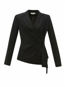 Diane Von Furstenberg - Lana Waist Tie Crepe Blazer - Womens - Black