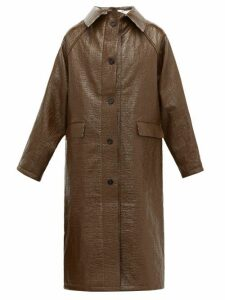 Kassl Editions - Vinyl Coated Linen Blend Coat - Womens - Brown Multi