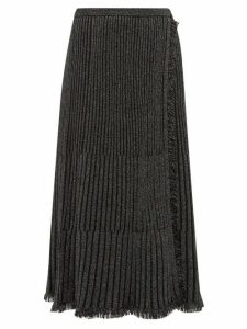 Diane Von Furstenberg - Brooklyn Metallic Ribbed Midi Skirt - Womens - Black
