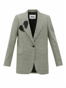 Msgm - Single Breasted Broken Heart Wool Blend Blazer - Womens - Black White