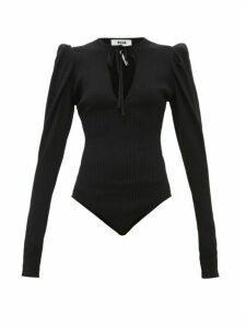 Msgm - Puff Sleeve Ribbed Jersey Bodysuit - Womens - Black