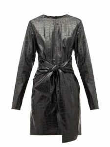 Msgm - Crocodile Effect Faux Leather Mini Dress - Womens - Black