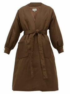 Gucci - Belted Padded Silk Satin Coat - Womens - Brown