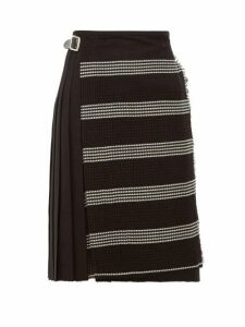 Le Kilt - Houndstooth Panel Pleated Wool Skirt - Womens - Black White