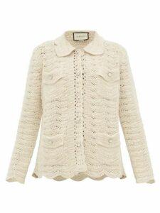 Gucci - Crystal Button Crochet Wool Cardigan - Womens - Ivory