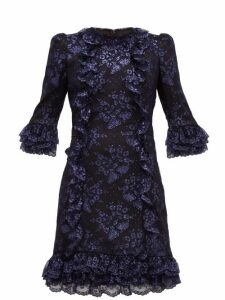 The Vampire's Wife - Cate Metallic Fil Coupé Silk And Lace Mini Dress - Womens - Black Navy