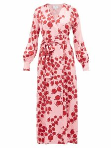 Rebecca De Ravenel - Claire Pomegranate Print Silk Satin Wrap Dress - Womens - Pink Multi