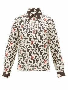 La Prestic Ouiston - Monogram Print Silk Faille Blouse - Womens - Cream Multi
