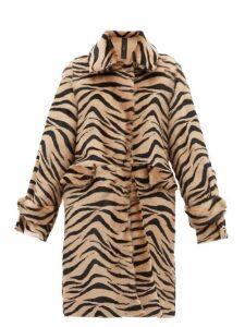 Giani Firenze - Jillian Lungo Zebra Print Shearling Coat - Womens - Animal
