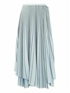 Proenza Schouler - Striped Asymmetric Hem Pleated Crepe Wrap Skirt - Womens - Blue Multi