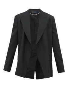 Proenza Schouler - Detachable Lapel Wool Blend Twill Blazer - Womens - Black