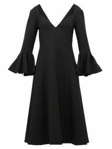 Marc Jacobs - Bell Cuff Wool Crepe Midi Dress - Womens - Black