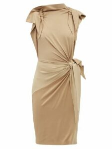 Burberry - Draped Knotted Stretch Silk Dress - Womens - Beige