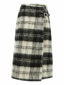 Le Kilt - Wrap Tartan Wool Kilt Midi Skirt - Womens - Black White