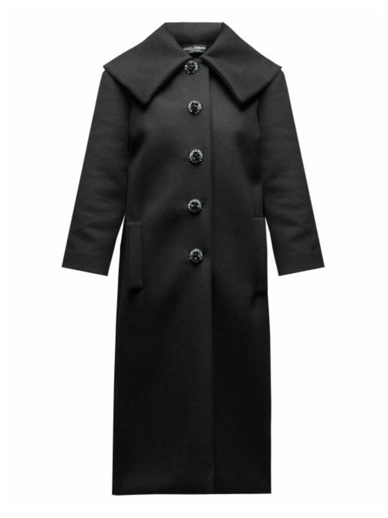 Dolce & Gabbana - Crystal Button Single Breasted Wool Coat - Womens - Black