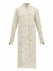 Lemaire - Draped Tie Marble Print Silk Dress - Womens - White Black
