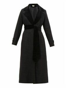 Beulah - Harita Velvet Lapel Tweed Coat - Womens - Black