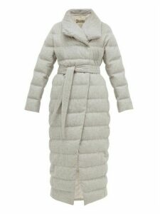 Herno - Down-filled Felted Silk-blend Coat - Womens - Light Grey